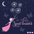 Sweet dreams girl vector Royalty Free Stock Photo