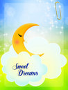 Sweet dreams illustration of funny moon and clouds Stock Photo