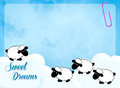 Sweet dreams illustration of funny sheeps in the sky Royalty Free Stock Photography