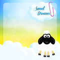 Sweet dreams illustration of sheep on clouds Stock Photography