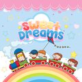 Sweet dreams logo with kids in toy train and rainbow in the sky on bright blue background Royalty Free Stock Photo