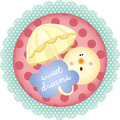Sweet dreams round label scalable vectorial image representing a isolated on white Stock Photography