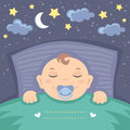 Sweet dreams vector card with cute sleeping baby boy Stock Photography