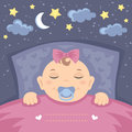 Sweet dreams vector card with cute sleeping baby girl Stock Photos