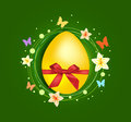 Sweet easter egg with gift bow greeting card Royalty Free Stock Image