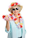 Sweet elderly lady tourist wearing garland Stock Photography