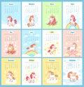 Sweet cute magic unicorn 2019 calendar for kids. Fairy unicorns with rainbow cartoon vector template for calendars