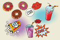 Sweet fast food set for the movie Royalty Free Stock Photo