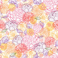 Sweet flowers seamless pattern background vector floral line art with hand drawn on light Stock Photo