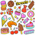 Sweet Food Badges Set with Patches Royalty Free Stock Photo