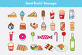 Sweet Food and Beverages Vector Set Royalty Free Stock Photo