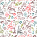 Sweet food seamless pattern hand drawn Stock Images