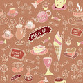 Sweet food seamless texture coffee and style sketches Stock Photos