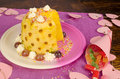 Sweet fruit cake pinapple dessert served for a kid party Stock Photo