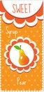 Sweet fruit labels for drinks, syrup, jam. Pear label. Vector illustration.