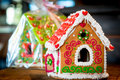 Sweet gingerbread house is beautifully decorated Royalty Free Stock Photo