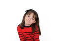 Sweet girl with cute grin isolated on white Stock Photography