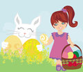 Sweet girl  and Easter Bunny Royalty Free Stock Images