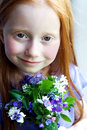 Sweet Girl with Flowers Royalty Free Stock Photography