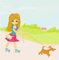 Sweet girl and her puppy illustration Stock Photo
