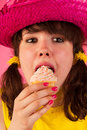 Sweet girl with icecream Stock Image