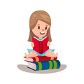 Sweet girl reading a book sitting on a pile of books, education and knowledge concept, colorful character Illustration Royalty Free Stock Photo