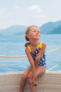 Sweet girl rest sea summer on vacation Royalty Free Stock Photo