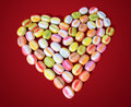 Sweet heart made of bonbons romantic feelings dreams Royalty Free Stock Photography