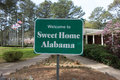 Sweet home alabama welcome sign at rest area stop off highway Royalty Free Stock Photo
