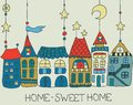 Sweet home background color illustration for beautiful card Royalty Free Stock Image