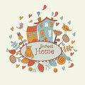 Sweet home background with cute houses cat snail flowers birds and hearts in cartoon style Royalty Free Stock Images