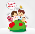 Sweet home, family card Stock Photography