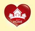 Sweet home over dotted background vector illustration Royalty Free Stock Photos