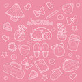 Sweet Home set of vector design childish elements: cute cat, cups of coffee, cake, sneakers, alarm clocks, hearts etc. Royalty Free Stock Photo