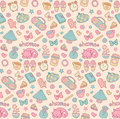Cute childish vector seamless pattern with alarm clock, heart, star, cat, cup etc. Vintage set of sweet home elements.