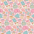 Sweet Home vector seamless pattern. Set of vector design home elements, cute cat, cups of coffee, cake, alarm clocks etc Royalty Free Stock Photo