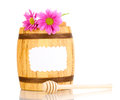 Sweet honey in barrel with drizzler Royalty Free Stock Image