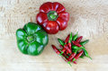 Sweet and hot chili peppers Stock Images