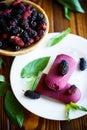 Sweet ice cream of black mulberry Royalty Free Stock Photo