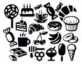 Sweet icon vector black set on white Royalty Free Stock Images