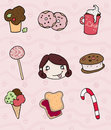 Sweet icons and greedy girl Royalty Free Stock Photography