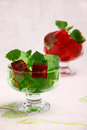Sweet jelly dessert in elegant goblet Stock Photography