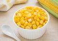 Sweet kernel corn in bowl white Stock Photos