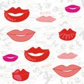 Sweet lips pink red gray pattern Royalty Free Stock Image