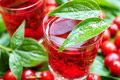 Sweet liqueur made from ripe cornelian cherry and alcohol Stock Photography
