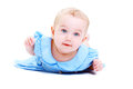 Sweet little baby close up of girl in blue dress isolated over white Royalty Free Stock Photos
