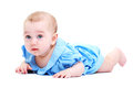 Sweet little baby close up of girl in blue dress isolated over white Stock Image