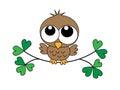 Sweet little brown baby owl happy birthday shower pattern for children wear header Stock Images