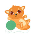 Sweet Little Cat With Big Eyes. Cartoon Vector Kitty On A White Background. Royalty Free Stock Photo