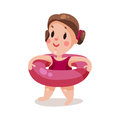 Sweet little girl with inflatable pink buoy, kid ready to swim colorful character  Illustration Royalty Free Stock Photo